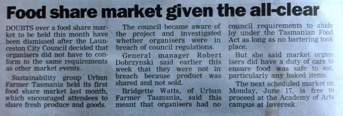 Examiner article Food share gets all clear 7th June 2013